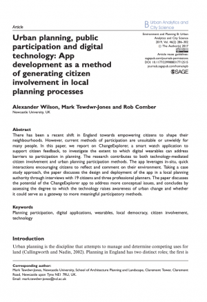 Urban planning, public participation and digital technology: App development as a method of generating citizen involvement in local planning processes (2019)