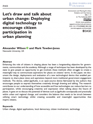 Let's draw and talk about urban change: Deploying digital technology to encourage citizen participation in urban planning (2019)