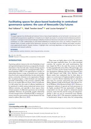 Facilitating spaces for place-based leadership in centralized governance systems: the case of Newcastle City Futures (2019)