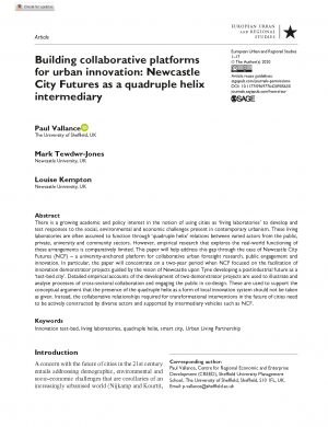 Building collaborative platforms for urban innovation: Newcastle City Futures as a quadruple helix intermediary (2020)